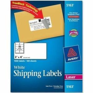 "Avery 5163 Easy Peel Address Labels 2x4"" 1000/box"